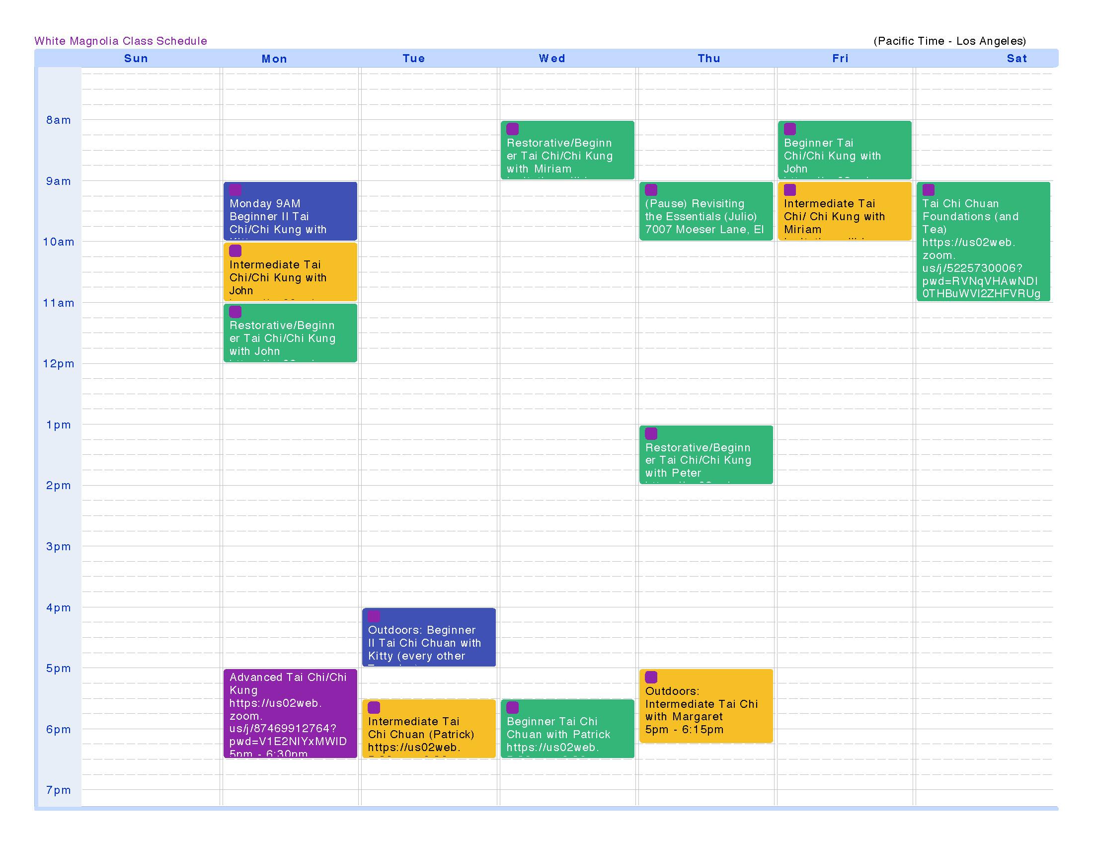 White Magnolia Tai Chi Class Schedule 5-9-2021