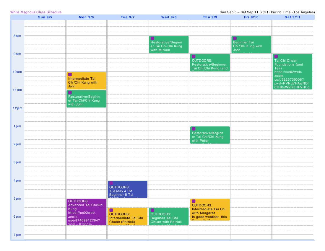 Class Schedule Fall 2021